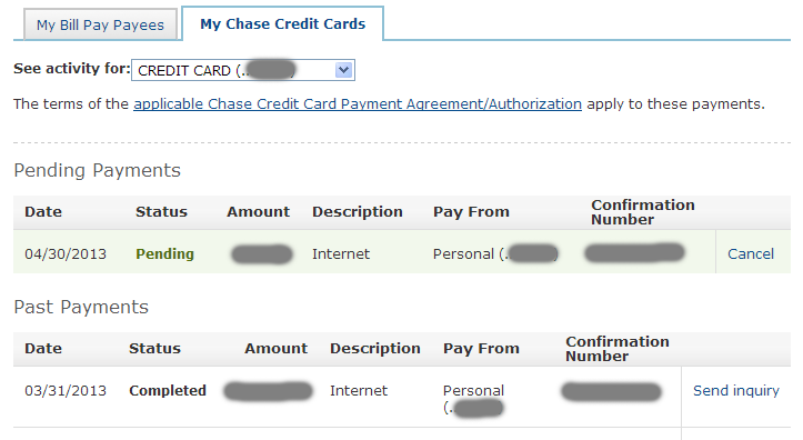 how to pay credit card bill chase